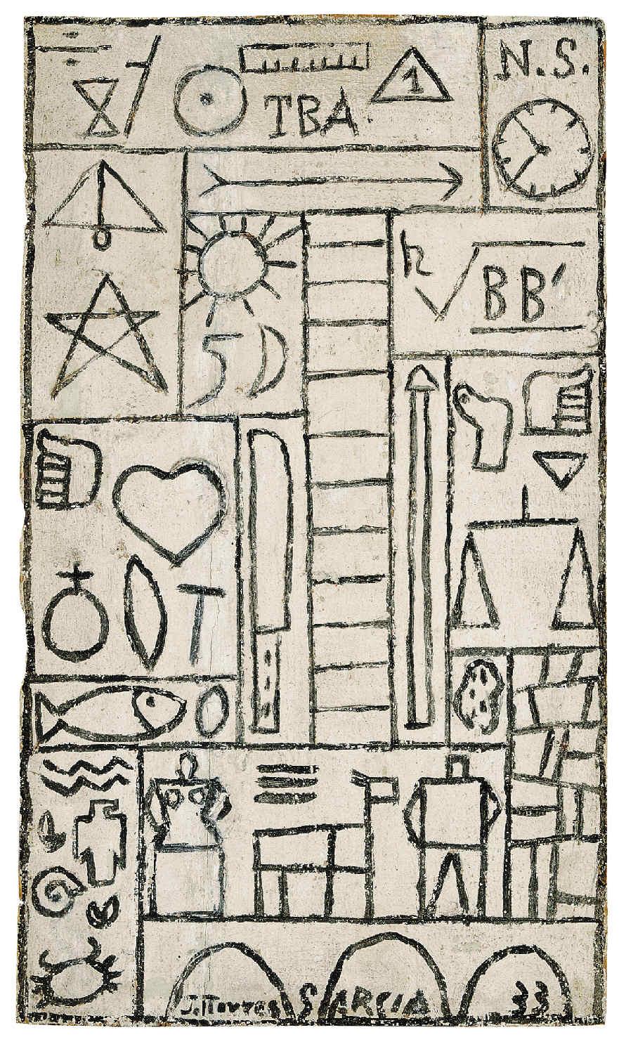 """Joaquín Torres-García. Constructivo en blanco y negro """"TBA"""". 1933. Óleo sobre madera. Colección Telefónica. © Sucesión Joaquín Torres-García, Montevideo 2016"""